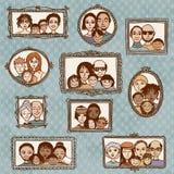 Śliczne obrazek ramy z rodzinnymi portretami Zdjęcie Stock