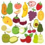 Śliczne owoc z Szczęśliwym twarz wektoru setem ilustracji
