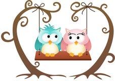 Śliczne par sowy w miłości na huśtawce Zdjęcie Stock