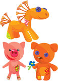śliczne ręcznie robiony miękkie zabawki Fotografia Royalty Free