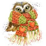 Śliczne sowy koszulki grafika, śnieżna sowy ilustracja z pluśnięcia wa