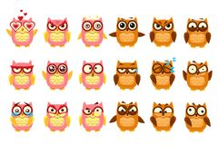 Śliczne sowy ustawiają, śmieszni owlets z różnorodną emocja wektoru ilustracją ilustracji