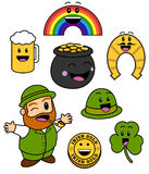 Śliczne St. Patricks dnia ikony Zdjęcia Stock