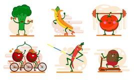 Śliczne uśmiechnięte owoc i jagodowi charaktery wymagający w sportach, set płaskiego kreskówka stylu wektorowe ilustracje odizolo ilustracji