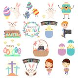 Śliczne Wielkanocne klamerek sztuki Ilustracyjne royalty ilustracja