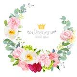 Ślicznego ślubnego kwiecistego wektorowego projekta round rama royalty ilustracja