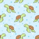 Ślicznego żółwia Bezszwowy Deseniowy tło royalty ilustracja