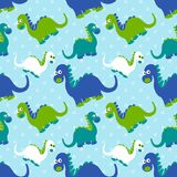 Ślicznego dinosaura bezszwowy wzór Uroczy kreskówka dinosaurów tło Zdjęcie Royalty Free
