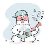 Ślicznego doodle biały niedźwiedź bawić się gitarę royalty ilustracja