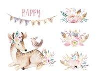 Ślicznego dziecka jelenia zwierzęca pepiniera odizolowywał ilustrację dla dzieci Akwareli boho kreskówki lasowy urodziny patry Obrazy Royalty Free