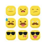 Ślicznego emoji emoticon reakci wyrażeniowego smiley ustalony wektor odizolowywający Zdjęcia Stock