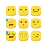 Ślicznego emoji emoticon reakci wyrażeniowego smiley ustalony wektor odizolowywający Obrazy Royalty Free