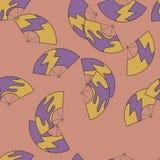 Ślicznego Japońskiego fan kolorowy bezszwowy wzór kolor żółty i purpury na różowym tle ilustracji