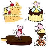 Ślicznego koloru wektorowy śmieszny set costumed śmieszne świnie royalty ilustracja