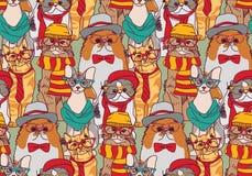 Ślicznego kot grupy mody modnisia bezszwowy wzór ilustracja wektor