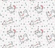 Ślicznego kota bezszwowy wzór w kawaii doodle stylu wektoru ilustracji royalty ilustracja