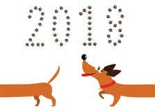 Ślicznego kreskówka jamnika psi podąża ogon 2018 i liczba Fotografia Stock