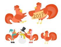 Ślicznego kreskówka koguta kurczaka wektorowy ilustracyjny zwierzęta gospodarskie ilustracja wektor