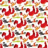 Ślicznego kreskówka koguta kurczaka zwierzęta gospodarskie rolnictwa wektorowego ilustracyjnego domowego charakteru bezszwowy des ilustracja wektor