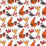 Ślicznego kreskówka koguta kurczaka zwierzęta gospodarskie rolnictwa wektorowego ilustracyjnego domowego charakteru bezszwowy des ilustracji