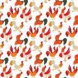 Ślicznego kreskówka koguta kurczaka zwierzęta gospodarskie rolnictwa wektorowego ilustracyjnego domowego charakteru bezszwowy des Obraz Royalty Free