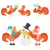 Ślicznego kreskówka koguta kurczaka zwierzęta gospodarskie wektorowego ilustracyjnego rolnictwa domowy charakter ilustracji