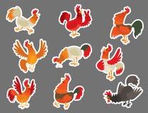 Ślicznego kreskówka koguta kurczaka zwierzęta gospodarskie wektorowego ilustracyjnego rolnictwa koguta gospodarstwa rolnego domow royalty ilustracja