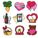 Ślicznego kreskówka koloru valentines dnia wektorowy set ilustracji