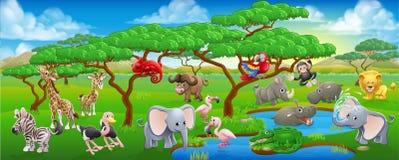 Ślicznego kreskówka safari sceny Zwierzęcy krajobraz ilustracji