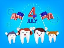 Ślicznego kreskówka zębu falowania rodzinna flaga amerykańska Obrazy Royalty Free