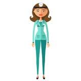 Ślicznego kreskówki lekarki charakteru kreskówki wektoru płaska ilustracja Zdjęcie Royalty Free