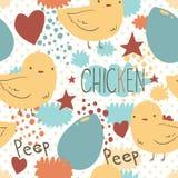 Ślicznego małego kurczaka bezszwowy wzór Zdjęcia Stock