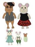 Ślicznego myszy kreskówki rocznika mamy Rodzinnego Ubraniowego tata brata Siostrzany dziecko Obrazy Royalty Free