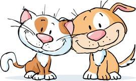 ślicznego pies i kot wektorowa ilustracyjna kreskówka odizolowywająca Obraz Stock