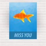 Ślicznego poligonalnego goldfish wektorowy projekt dla karty ilustracji