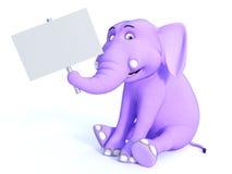 Ślicznego różowego Toon dziecka słonia mienia pusty znak Obraz Stock