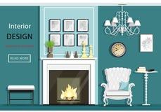 Ślicznego rocznika żywy izbowy wnętrze z meble: wygodny karło, graba, świecznik, stół Mieszkanie styl royalty ilustracja