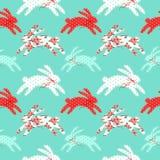 Ślicznego rocznika Wielkanocny bezszwowy wzór z królikami jako retro tkaniny łaty aplikacja w podławym szyka stylu Obraz Stock