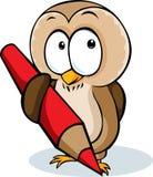 Ślicznego sowa chwyta ołówkowa kreskówka - wektorowa ilustracja Zdjęcia Royalty Free
