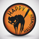 Ślicznego Stylizowanego Przelękłego kota Halloweenowy guzik, Wektorowa ilustracja Zdjęcia Stock