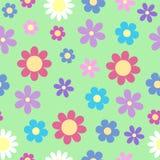 Ślicznego stylizowanego stokrotka kwiatu bezszwowy wzór na jaskrawym pastelowym col ilustracja wektor