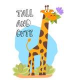 Ślicznego wektorowego kreskówka modnego projekta mała żyrafa z trawą i kwiatem w usta Afrykański zwierzęcy przyroda wektor Fotografia Royalty Free
