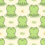 Ślicznej żaby Bezszwowy Deseniowy tło ilustracja wektor