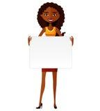 Ślicznej amerykanin afrykańskiego pochodzenia dziewczyny mienia deski wycinanki kreskówki wektoru płaska ilustracja Obrazy Royalty Free