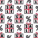 Ślicznej Black Friday sprzedaży bezszwowy wzór z prezentów pudełkami i dyskontowym procentem podpisuje wewnątrz czerni, czerwieni Obrazy Royalty Free