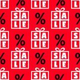 Ślicznej Black Friday sprzedaży bezszwowy wzór z prezentów pudełkami i dyskontowym procentem podpisuje wewnątrz czerni, czerwieni Zdjęcia Stock