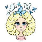 Ślicznej blondynki kędzierzawa dziewczyna z błękitnymi motylami royalty ilustracja