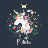 Ślicznej jednorożec urodzinowa karta, zaproszenie, wektorowy projekt obraz royalty free