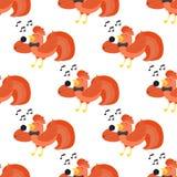 Ślicznej kreskówki śpiewacki kogut wektorowy ilustracyjny kurczaka zwierzęta gospodarskie rolnictwo domowy charakter bezszwowy wz Obrazy Royalty Free