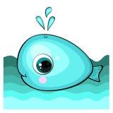 Ślicznej kreskówki błękitny wieloryb w wodzie ilustracji